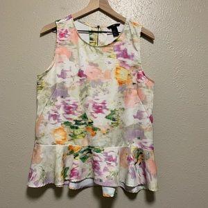 H&M watercolor peplum exposed zipper blouse